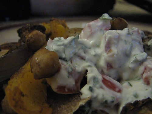 closeup of yogurt sauce