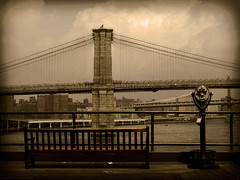 a place to sit... (bNat!) Tags: nyc bridge usa ny newyork monochrome sepia port bench puerto puente harbor pier muelle us dock unitedstates harbour manhattan banco financialdistrict eua brooklynbridge manhattanbridge eastriver pont ustrip brooklin banc southstreet coast2coast moll fultonstreet estadosunidos nuevayork shaded virado eeuu novayork sombreado 1ststop virat estatsunits goldstaraward artilugipermirar prismticsperguiris cacharroparamirar prismticosparaguiris widgettosee binocularsfortourists ombrejat