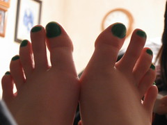 green toenails (loveispoison9) Tags: green feet toes long pretty lime thin toenails