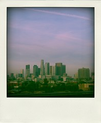 LA Skyline* (seaotter22) Tags: sky skyline fence buildings polaroid la smog losangeles downtown thisisla