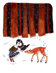 her dearest (amanda pulley) Tags: ink watercolor painting deer fawn dear punny crappyscan
