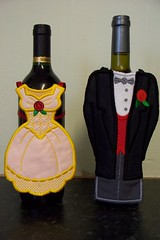 Bride and Groom Bottle Toppers. (sewnovel) Tags: wedding bottle wine toppers