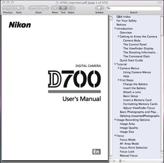 Nikon D700 User's Manual