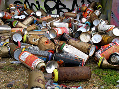 Cans (monkeymillions) Tags: rust brighton paint grafitti spray cans detritus blackrock tidyingup