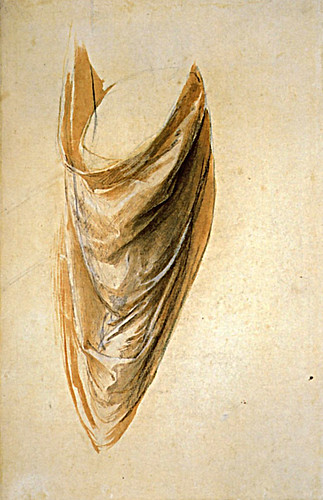 1508  Raphael    The Disputa, Study for a drapery  Brush and brown wash  40,5x26,2 cm  otam