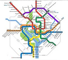 the Purple Line superimposed on the Metro map (from: Purple Line Now!)