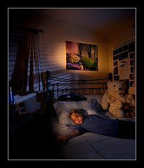 Life Imitating Art (Poppa-D) Tags: blue boy sleeping arizona portrait phoenix darren dark grid bed artwork bedroom nikon child az stevenson moonlight d200 cls strobes sb800 snoot strobist sb900 darrenstevenson