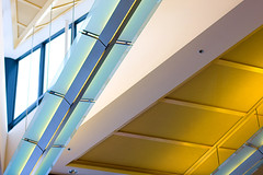 Ceiling Abstract (Pat Kilkenny) Tags: windows light abstract glass yellow architecture canon turquoise steel january ceiling 2009 oberlin oberlincollege diamondclassphotographer flickrdiamond canon40d goldstaraward thesciencecenter patkilkenny