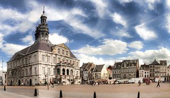 Maastricht - Market Place (Werner Kunz) Tags: city trip travel blue vacation sky holiday streets holland tower church netherlands dutch clouds photoshop maastricht nikon europa europe day cathedral cloudy urlaub small wideangle getty hdr cosy werner reise niederlande gettyimage kunz photomatix 20fav explored colorefex nikond90 topazadjust werkunz1