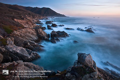 Last Light on Big Sur (jimgoldstein) Tags: ocean california blue sunset sea sky cliff usa cloud mist seascape color colour nature water rock horizontal misty sunrise landscape outside outdoors coast whitewater surf unitedstates outdoor bigsur rocky wave nobody pacificocean coastal carmel northamerica coastline jmggalleries jimmgoldstein canon1dsmarkiii