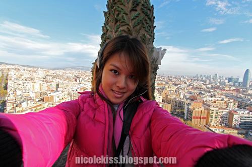 tired me taking photo on top of sagrada familia