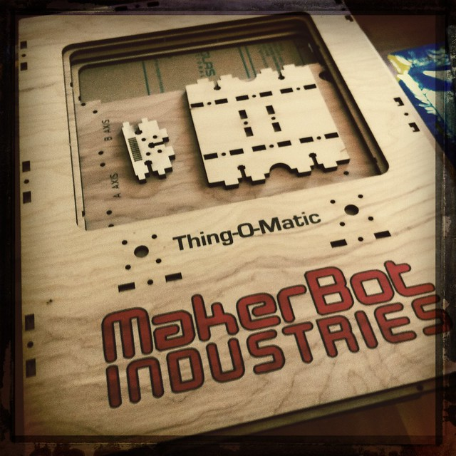 Unpacking the lasercut wood parts of the @Makerbot - smells like camping