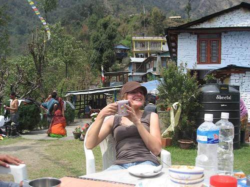 Gela relaxing in Jhinu danda
