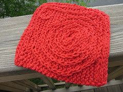 knitted dishcloth with crochet decoration