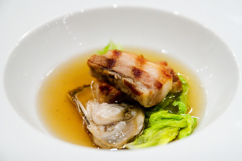 pork belly and oyster in kimchi consomme