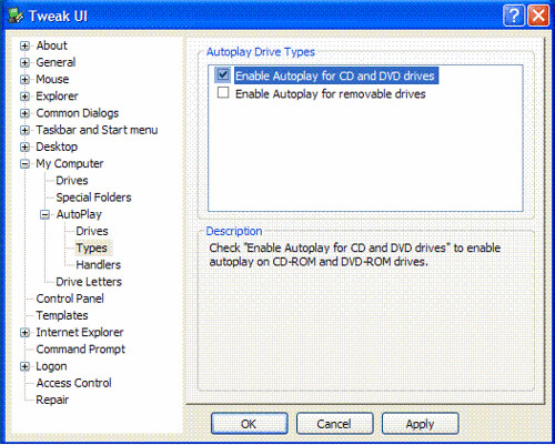 Dùng TweakUI để diệt virus lây lan qua USB flash bằng tay. Ảnh: Minh Linh, phát hành tự do