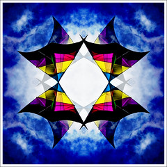 Delta Kite in the Clouds (hz536n/George Thomas) Tags: pink blue summer sky white kite abstract oklahoma yellow kaleidoscope stillwater 2008 cs3 canon30d canonef70200mmf4lusm p1f1