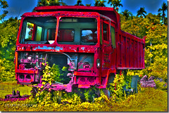 Red Truck HDR (Shabbir Ferdous) Tags: blue red sky art photographer bangladesh hdr bangladeshi redtruck canonef50mmf18ii barisal abigfave canoneosrebelxti shabbirferdous wwwshabbirferdouscom shabbirferdouscom