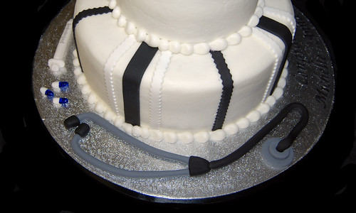 Black and White Medical School Graduation Cake c