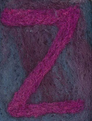 Alphabet ATC or ACEO Available - Needlefelted Letter Z