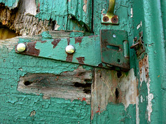 Decayed (Canicuss) Tags: door wood green rotting catchycolors handle paint lock decay holes mo kansascity missouri bolt kc chipped splinters canicuss