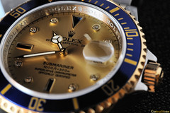 (CornrSton) Tags: macro clock gold hands nikon time watch slowshutter clocks rolex d3 cornerstone submariner clockhands   aplusphoto  nikond3