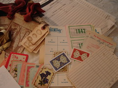 Vintage Ephemera Swap From Rhonda (NancyGail) Tags: altered vintage antique buttons ephemera swap swaps oldledgers vintageephemeraswap