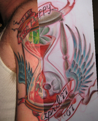 drawing tattoos. Hourglass drawing on tattoo
