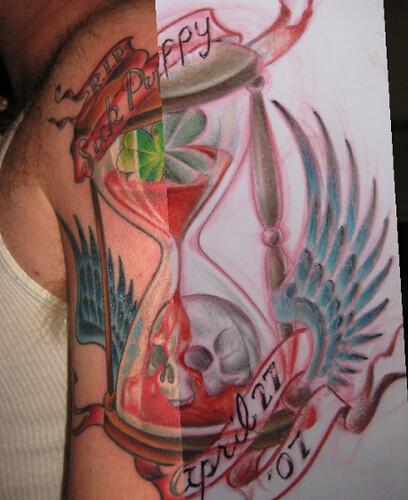 drawing tattoos. Hourglass drawing on tattoo