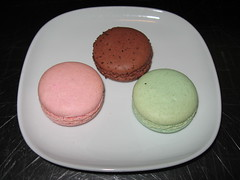 Trois Crepes Patisserie: Chocolate, raspberry and pistachio macarons (another view)
