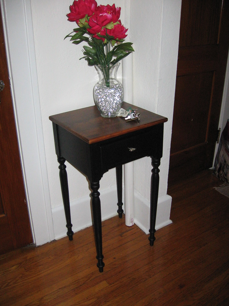Refinished table in foyer