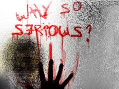 Why So Serious? (Msjenniee) Tags: red dark movie print blood serious finger heath knight why ledger so