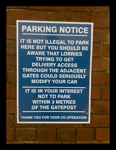 Avoid parking fails sign