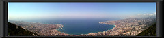 View of Jounieh from Harissa - Lebanon 2008 (Nicolas Karim) Tags: city blue trees shadow sea panorama lebanon building beach colors clouds port bay town shrine exposure mediterranean horizon panoramic stitching population beirut 2008 lebanese liban blending leb harissa jounieh tabarja summer2008 maamelten kaserwen lebanonsummer2008