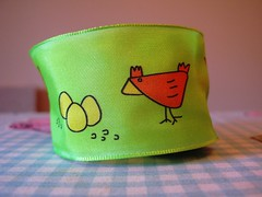chickens_green (redcleo) Tags: orange green chickens yellow eggs ribbon wiredribbon jcarolinecreative