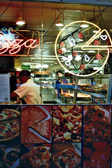 Pizzeria (Arthur Loveday) Tags: film shop shirt night analog 35mm dark out found lights arthur al colorful neon candid working away pizza his ha manual 135 pizzeria taking came 35 exposed theman loveday intheblue soiran aphotoof arthurloveday outtohaveago atmefor