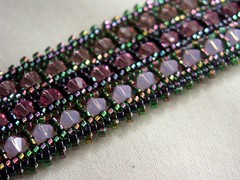 "Herringbone ""Ande"" bracelet - detail (Under a crafty tree) Tags: beads beaded jewelry beadedjewelry bracelet handmade crystal purple herringbone beadwoven delicabeads swarovski"