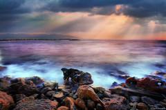 (Stevacek) Tags: longexposure sunset sea sky beach clouds d50 evening nikon waves kreta creta crete rays hdr gouves sunbeams sigma1020mm stevacek astirbeach