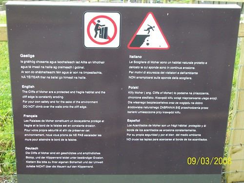 Ireland - Cliffs of Moher - safety warnings