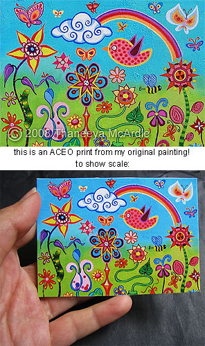 Shiny Happy Landscape - ACEO mini print of original painting