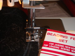 Using beading feet to sew wire
