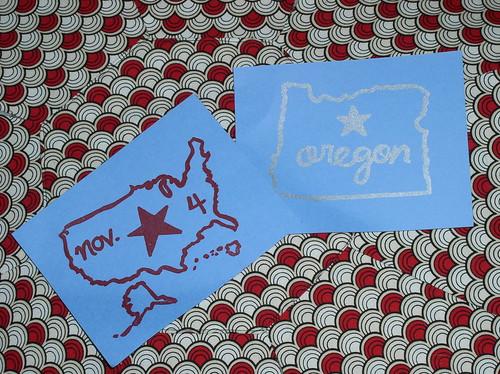 Two gocco-printed postcards I made
