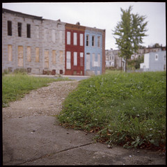 Vacants (patrickjoust) Tags: city urban usa building abandoned 120 6x6 film analog america canon buildings square le