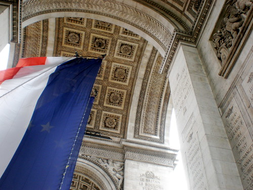 The Arc de Triomphe from underneath