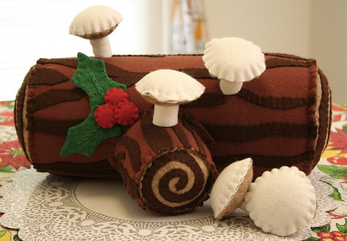 Stuffed Buche de Noel with mushrooms and holly