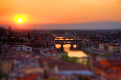 Florence skyline toy (darktiger) Tags: sunset italy water canon toy boats photography florence bridges 5d firenze effect renaissance tiltshift platinumphoto flickrdiamond florenceskyline