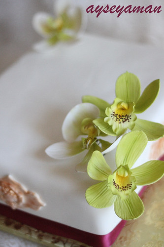 yesil orkideli pasta