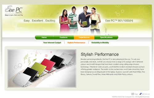Asus Eee PC v3 microsite - Inner Page