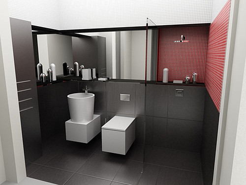 Black white red Bathroom in private apartament, Cracow, by InsideLab