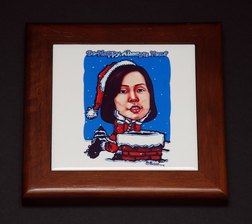 Miss Santa Claus caricature printed on tile with frame